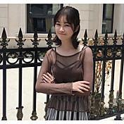 Mujer Regular Cardigan Casual/Diario Un Color Escote Redondo Manga Larga Acrílico Verano Fino Rígido