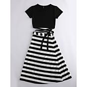 女性用 Tシャツ ソリッド ストライプ スカート