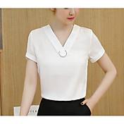 Mujer Bonito Casual/Diario Verano Camiseta,Escote en Pico Un Color Manga Corta Algodón
