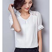 Mujer Simple Casual/Diario Camisa,Escote en Pico Un Color Manga Corta Otro