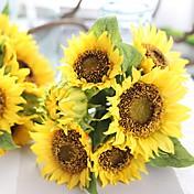 1 Pieza 1 Rama Seda Poliéster Girasoles Flor de Mesa Flores Artificiales