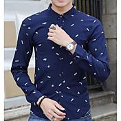 メンズ カジュアル/普段着 シャツ,シンプル スクエアネック プリント コットン その他 長袖