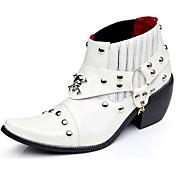 メンズ 靴 エナメル 冬 秋 ファッションブーツ ブーティー ブーツ ブーティー/アンクルブーツ 用途 カジュアル パーティー ホワイト ブラック