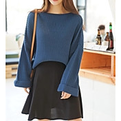 Mujer Regular Pullover Casual/Diario Un Color Escote Redondo Manga Larga Poliéster Verano Medio Elástico
