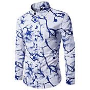 Masculino Camisa Social Para Noite Trabalho Simples Temática Asiática Outono,Estampado Algodão Colarinho de Camisa Manga Longa