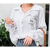 Mujer Simple Casual/Diario Camisa,Escote Chino Un Color Estampado Manga Larga Algodón