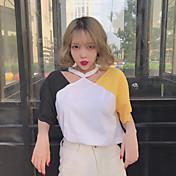 レディース カジュアル/普段着 Tシャツ,シンプル ホルター カラーブロック コットン 半袖