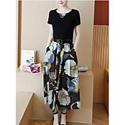 レディース お出かけ 春 Tシャツ(21) スカート スーツ,セクシー ラウンドネック フラワー 半袖