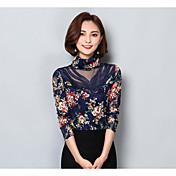 Mujer Simple Casual/Diario Blusa,Cuello Alto Floral Manga Larga Poliéster
