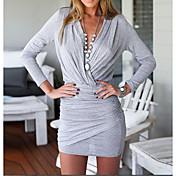 Mujer Vaina Vestido Casual/Diario Simple,Un Color Escote en V Profunda Mini Sobre la rodilla Manga Larga Algodón Verano Tiro Alto Elástico