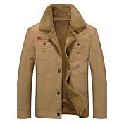 メンズ カジュアル/普段着 秋 冬 ジャケット,シンプル スタンド ソリッド レギュラー コットン ポリエステル 長袖 特大の