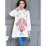 レディース カジュアル/普段着 シャツ,シンプル アジアン・エスニック シャツカラー 刺繍 コットン 長袖