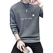 メンズ シンプル カジュアル/普段着 プラスサイズ スウェットシャツ レタード ラウンドネック マイクロエラスティック コットン スパンデックス 長袖 秋 冬