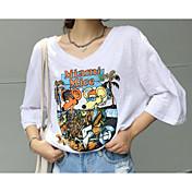 レディース お出かけ カジュアル/普段着 夏 Tシャツ,シンプル ラウンドネック ソリッド プリント コットン 半袖 薄手