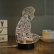 1 juego Luz nocturna 3D USB Decorativa