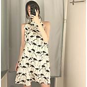 Mujer Corte Ancho Vestido Noche Casual/Diario Estampado Hombros Caídos Sobre la rodilla Sin Mangas Poliéster Verano Tiro Medio