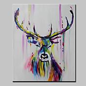 Pintada a mano Abstracto Animal Pop Vertical,Modern Un Panel Pintura al óleo pintada a colgar For Decoración hogareña