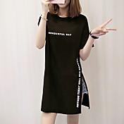 レディース カジュアル/普段着 夏 Tシャツ,シンプル ラウンドネック レタード コットン 半袖 ミディアム