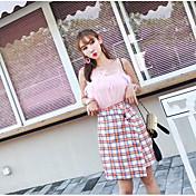 レディース カジュアル/普段着 夏 Tシャツ(21) スカート スーツ,シンプル ストラップ 格子柄 ノースリーブ