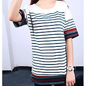 レディース カジュアル/普段着 Tシャツ,シンプル ラウンドネック ストライプ コットン その他 半袖