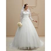 Salón Escote de ilusión Capilla Encaje Tul Vestido de novia con Perla Apliques Encaje Botón por LAN TING BRIDE®