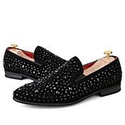 Hombre Zapatos PU microfibra sintético Primavera Otoño Innovador Mocasín Zapatos De Buceo Zapatos de taco bajo y Slip-On Pedrería Para