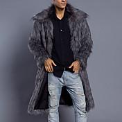 Men's Long Plus Size Faux Fur Fur Coat - ...