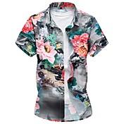 Men's Plus Size Cotton Slim Shirt - Floral