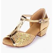 Niños Zapatos de danza (niños) Brillantina Lentejuelas Cuero PVC Tacones Alto Interior Brillantina Lentejuela Tacón Bajo Dorado Plateado