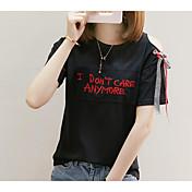Mujer Bonito Casual/Diario Verano Camiseta,Escote Redondo Estampado Bordado Letra Manga Corta Algodón Medio