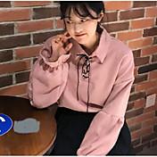 Mujer Simple Bonito Noche Casual/Diario Camisa,Cuello Camisero Un Color Manga Larga Algodón