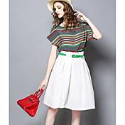 レディース お出かけ 夏 Tシャツ(21) スカート スーツ,ヴィンテージ ラウンドネック ソリッド ストライプ 半袖
