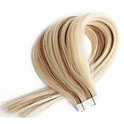 シームレスな人間の毛人間の髪の目に見えないテープエクステンション混合ブロンドの色doulbe側の皮膚の緯糸20個14inch  -  24inch