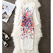 レディース キュート ストリートファッション ワーク シース ドレス,フラワー ラウンドネック 膝上 七分袖 ポリエステル 秋 ハイライズ マイクロエラスティック スモーキー