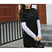 女性用 コットン 長袖 スウェットシャツ - カラーブロック