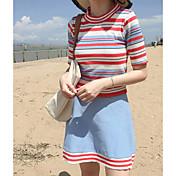 レディース お出かけ 夏 Tシャツ(21) スカート スーツ,シンプル ラウンドネック ストライプ 半袖