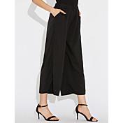 Mujer Casual Tiro Medio Elástico Perneras anchas Chinos Pantalones,Un Color Poliéster Verano