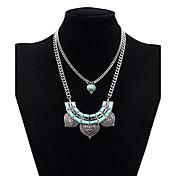 Mujer Collares con colgantes Collares en capas Forma de Hoja Turquesa Legierung Diseño Básico Personalizado Cosecha Multi capa Joyas Para