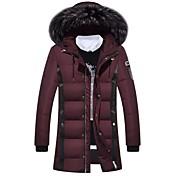 コート レギュラー ダウン メンズ,カジュアル/普段着 カラーブロック ポリエステル ホワイトダックダウン-ストリートファッション 長袖