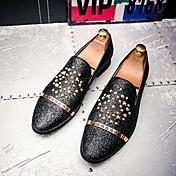 Hombre Zapatos Cuero real Otoño Invierno Confort Zapatos formales Zapatos De Buceo Zapatos de taco bajo y Slip-On Pedrería Remache Flor