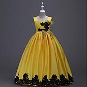 una línea de longitud del piso flor vestido de niña - cuello cuadrado sin mangas de satén por bflower