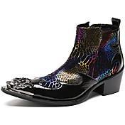 Hombre Zapatos Cuero de Napa Otoño Invierno Botas de Moda Botas hasta el Tobillo Botas Botines/Hasta el Tobillo Punta Metálica Para