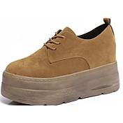 Mujer Zapatos Ante Otoño Confort Oxfords Media plataforma Dedo redondo Con Cordón Para Casual Negro Beige Marrón