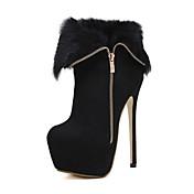 Mujer Zapatos Semicuero Otoño / Invierno Confort / Innovador / Pump Básico Botas Tacón Stiletto Cremallera Negro / Boda / Fiesta y Noche