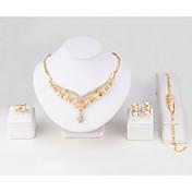 Mujer Collar Brazalete Anillo Diamante sintético Clásico Estilo Simple Boda Fiesta Cumpleaños Pedida Discoteca Chapado en Oro Forma de