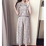 レディース カジュアル/普段着 夏 Tシャツ(21) パンツ スーツ,シンプル ラウンドネック 刺繍 半袖