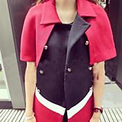 レディース お出かけ ワーク 秋 冬 クローク/岬,ストリートファッション シャツカラー カラーブロック ショート ウール 半袖