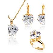 女性用 ファッション シンプルなスタイル ジルコン ゴールドメッキ イヤリング・ピアス ネックレス 用途 結婚式 日常 ウェディングギフト