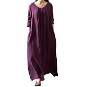 Mujer Tallas Grandes Corte Ancho Vestido Un Color Tiro Bajo Maxi Escote en U