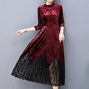Mujer Vaina Vestido Noche Tallas Grandes Simple,Un Color Escote Redondo Maxi Manga Larga Terciopelo Otoño Tiro Medio Rígido Medio